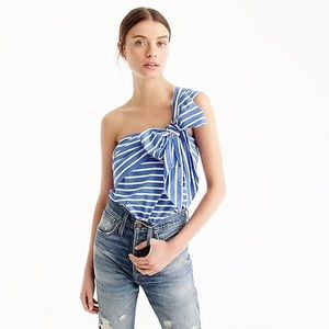 NEW $78 J. Crew One Shoulder Bow Stripe top 14